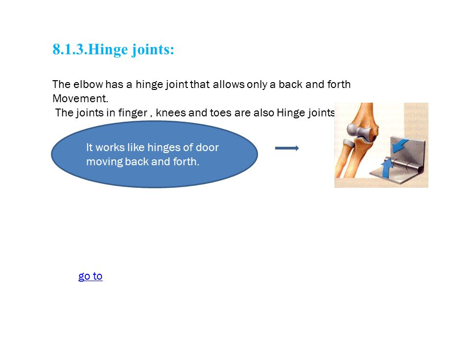 8.1.3.Hinge joints: The elbow has a hinge joint that allows only a back and forth. Movement.