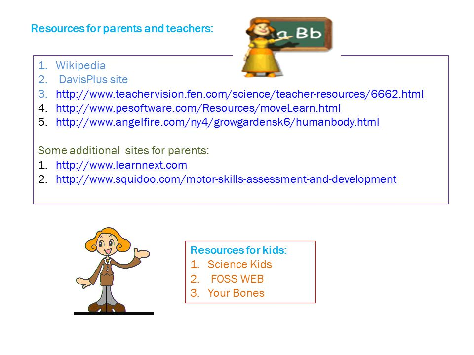 Resources for parents and teachers: