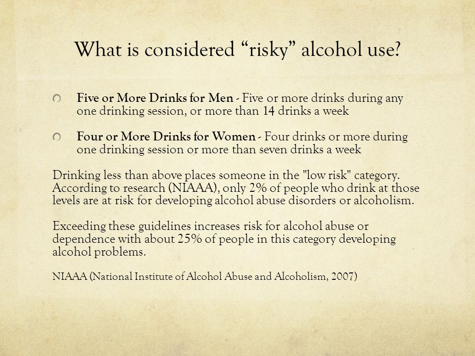 What is considered risky alcohol use