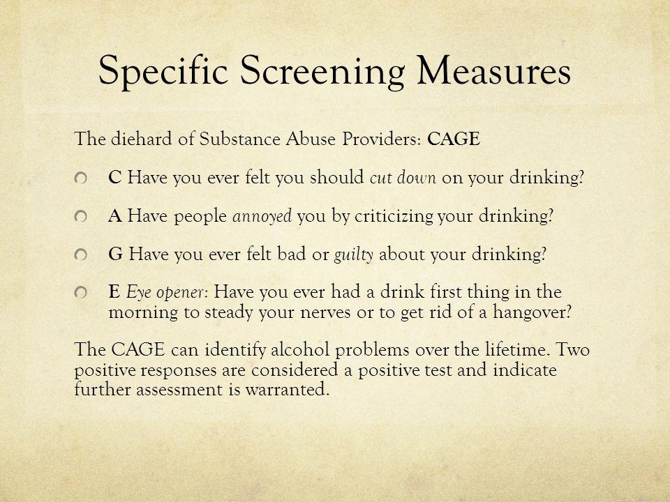 Specific Screening Measures