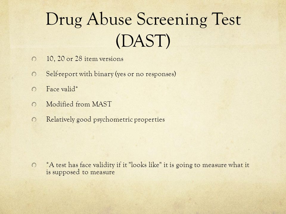 Drug Abuse Screening Test (DAST)