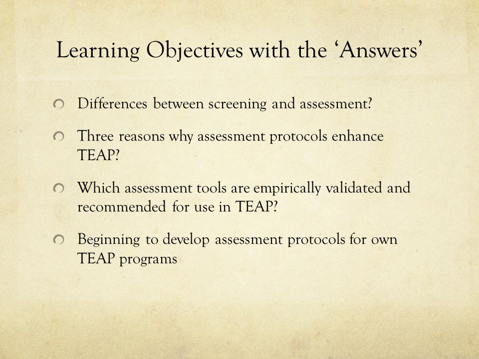 Learning Objectives with the 'Answers'