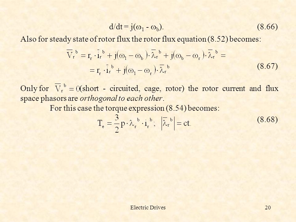 For this case the torque expression (8.54) becomes: (8.68)