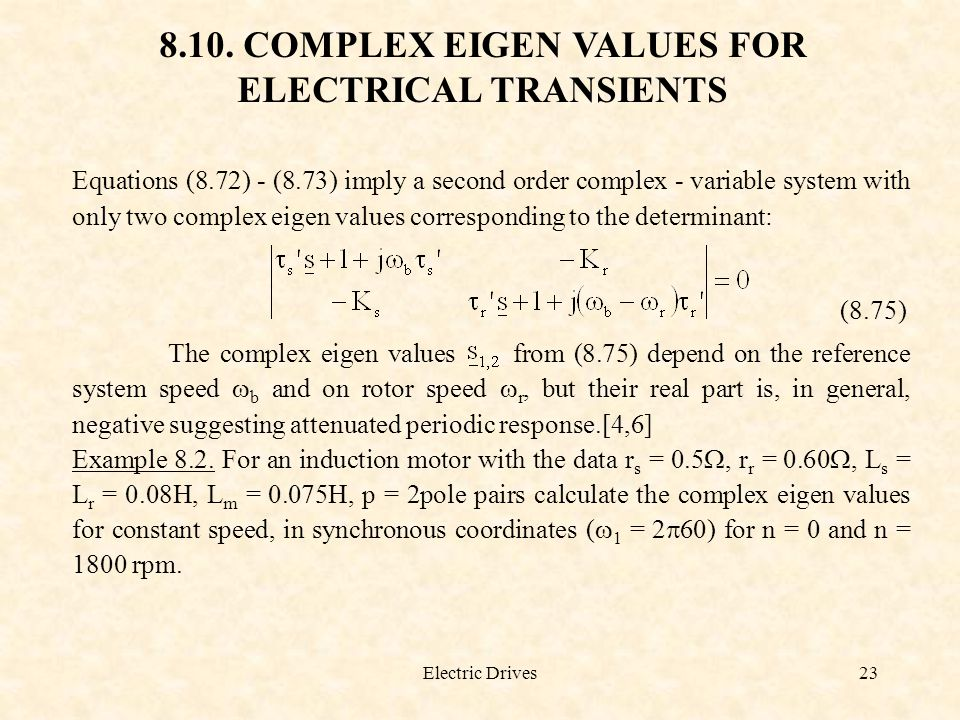 8.10. COMPLEX EIGEN VALUES FOR ELECTRICAL TRANSIENTS