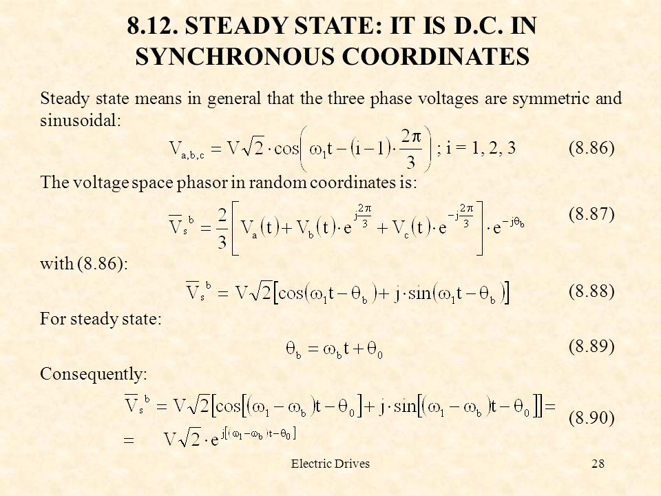8.12. STEADY STATE: IT IS D.C. IN SYNCHRONOUS COORDINATES
