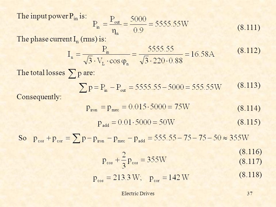 The phase current In (rms) is: (8.112)