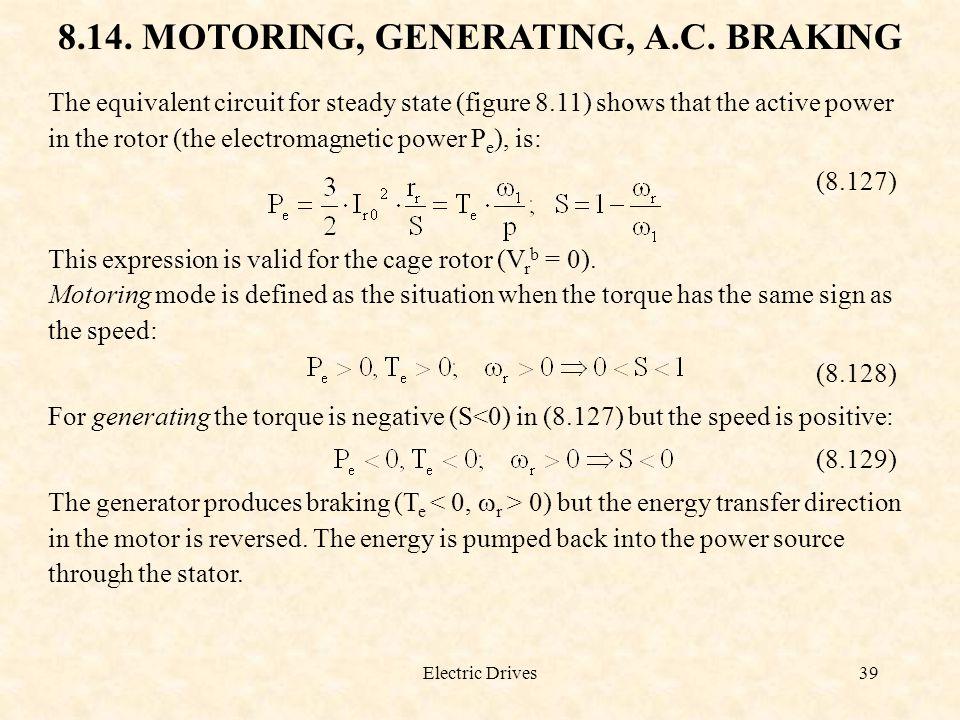 8.14. MOTORING, GENERATING, A.C. BRAKING