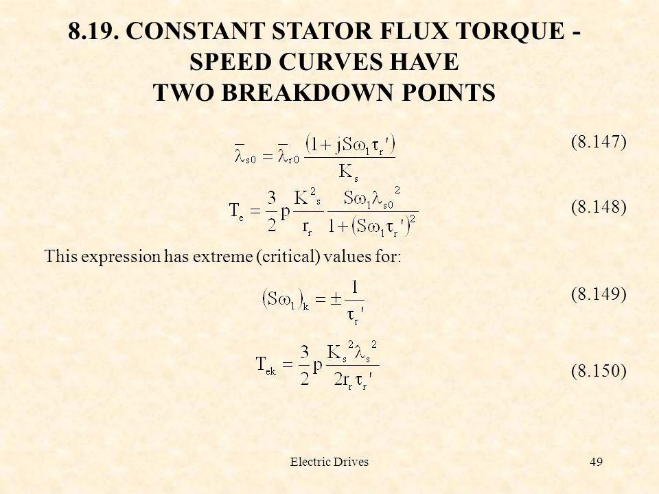 8.19. CONSTANT STATOR FLUX TORQUE - SPEED CURVES HAVE
