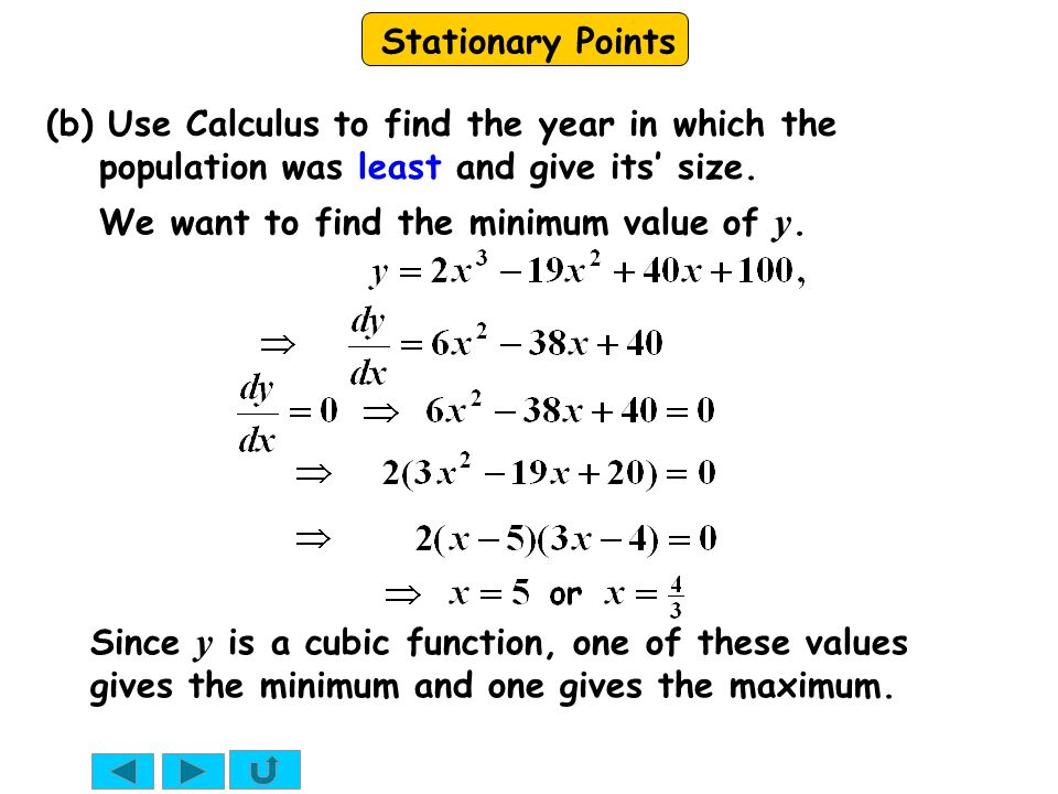 (b) Use Calculus to find the year in which the population was least and give its' size.