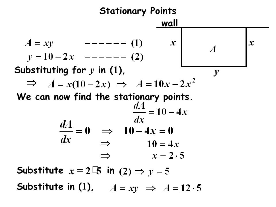 5 2 × = x A y wall Substituting for y in (1),