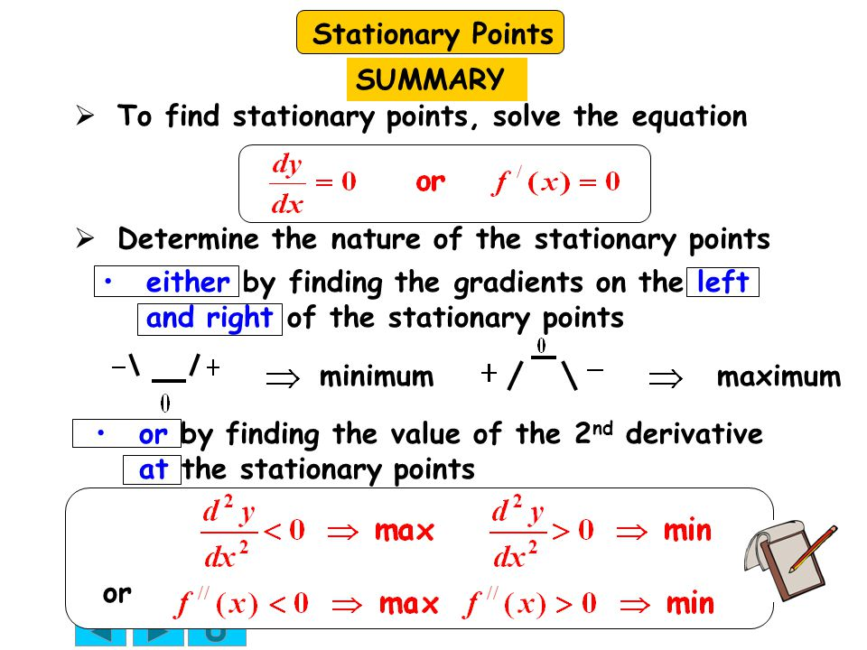 SUMMARY To find stationary points, solve the equation. Determine the nature of the stationary points.