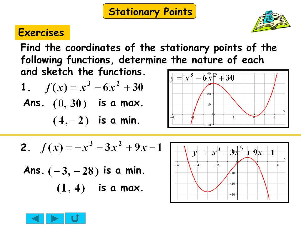 Exercises Find the coordinates of the stationary points of the following functions, determine the nature of each and sketch the functions.