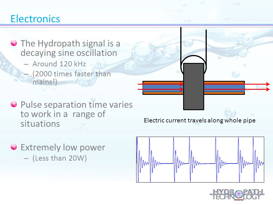 Electric current travels along whole pipe