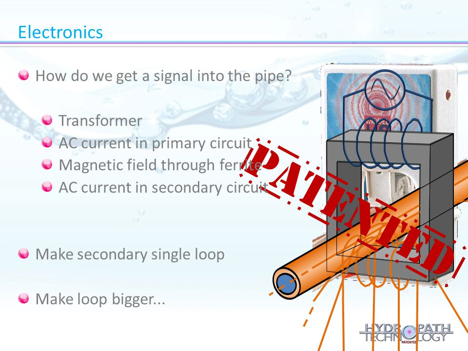 Patented Electronics How do we get a signal into the pipe Transformer