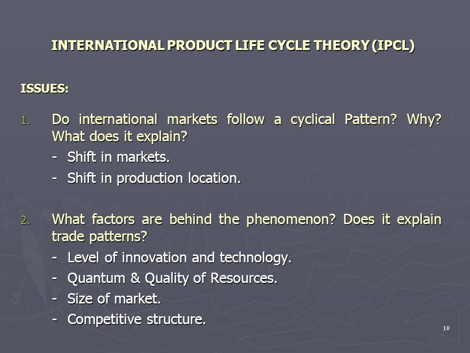 INTERNATIONAL PRODUCT LIFE CYCLE THEORY (IPCL)