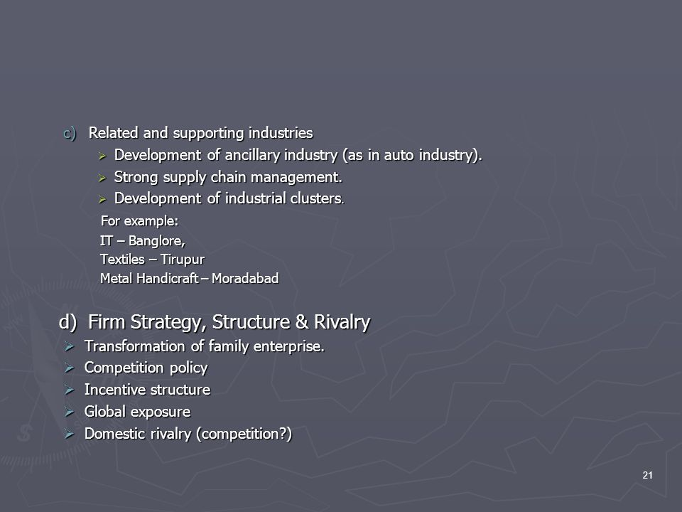 d) Firm Strategy, Structure & Rivalry