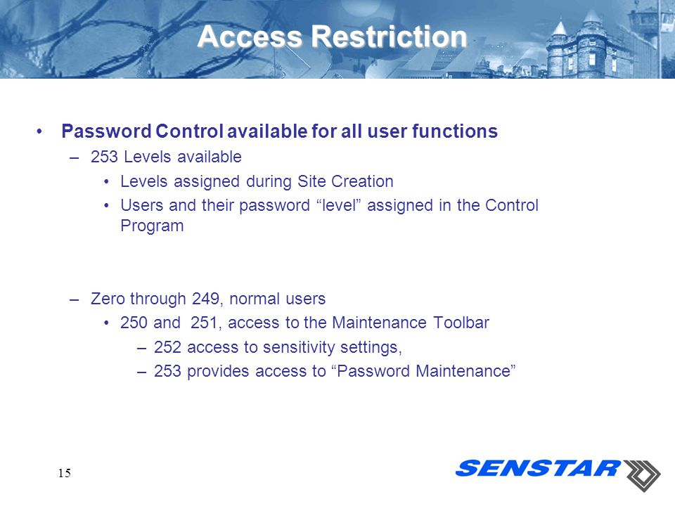Access Restriction Password Control available for all user functions