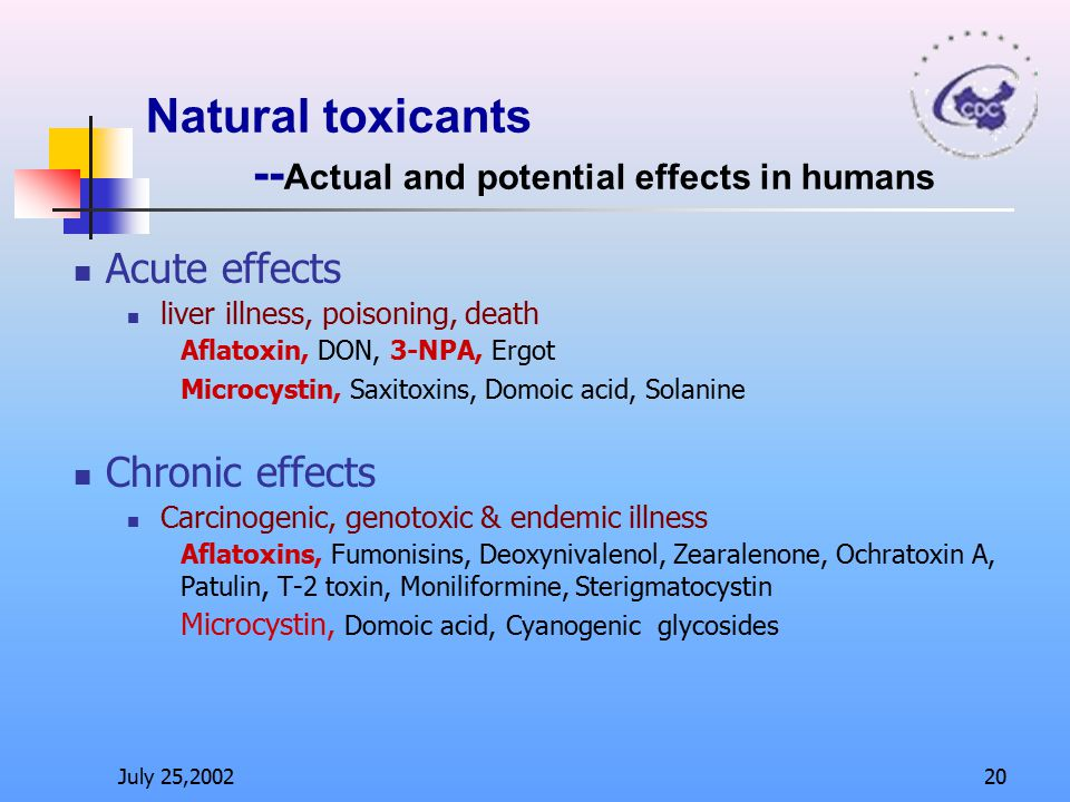 Natural toxicants --Actual and potential effects in humans