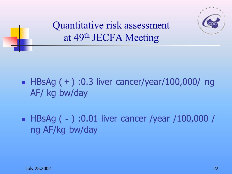 Quantitative risk assessment at 49th JECFA Meeting