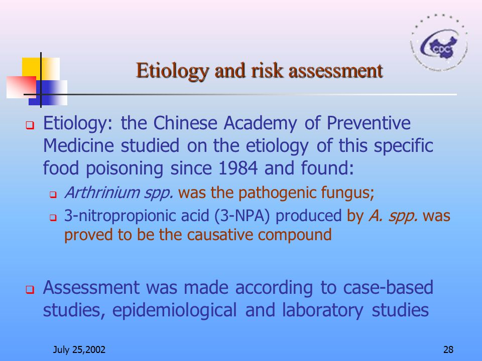 Etiology and risk assessment