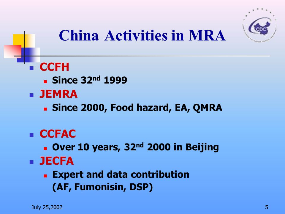 China Activities in MRA