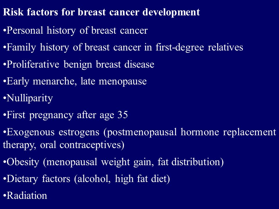 Risk factors for breast cancer development
