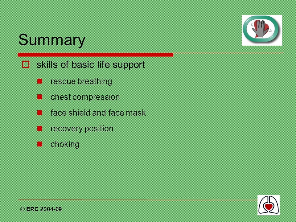 Summary skills of basic life support rescue breathing