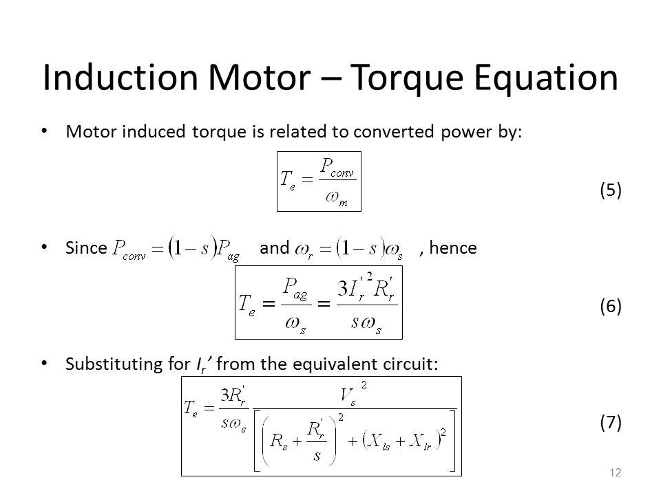 Induction Motor – Torque Equation