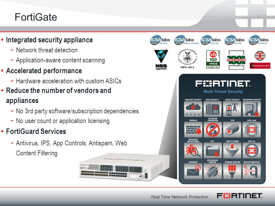 FortiGate Integrated security appliance Accelerated performance