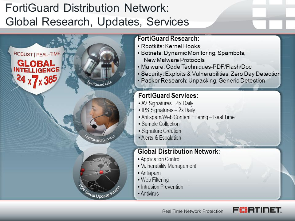 FortiGuard Distribution Network: Global Research, Updates, Services