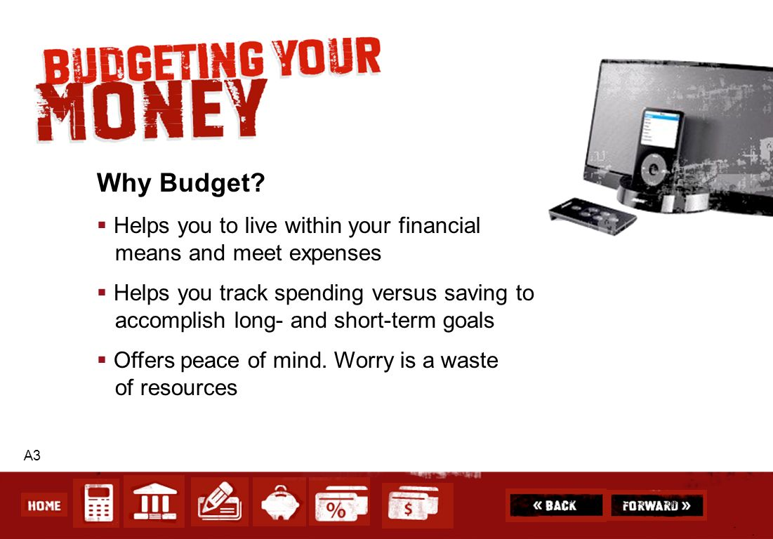 Why Budget Helps you to live within your financial means and meet expenses.