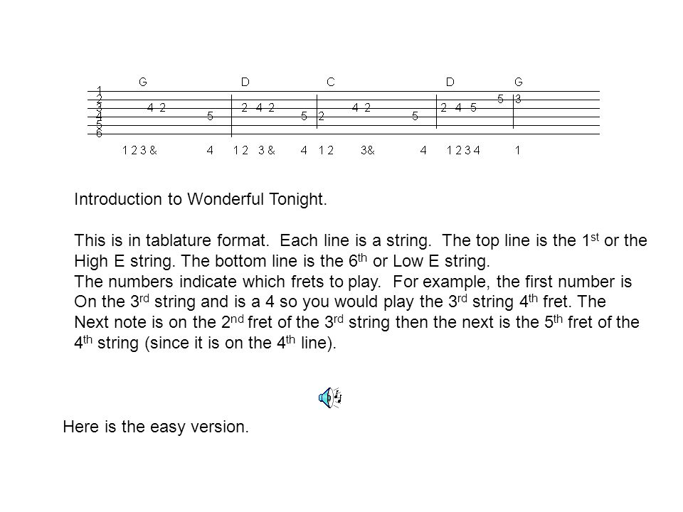 Introduction to Wonderful Tonight.