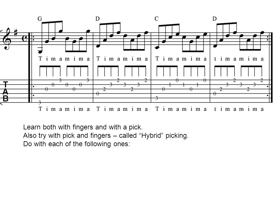 Learn both with fingers and with a pick.