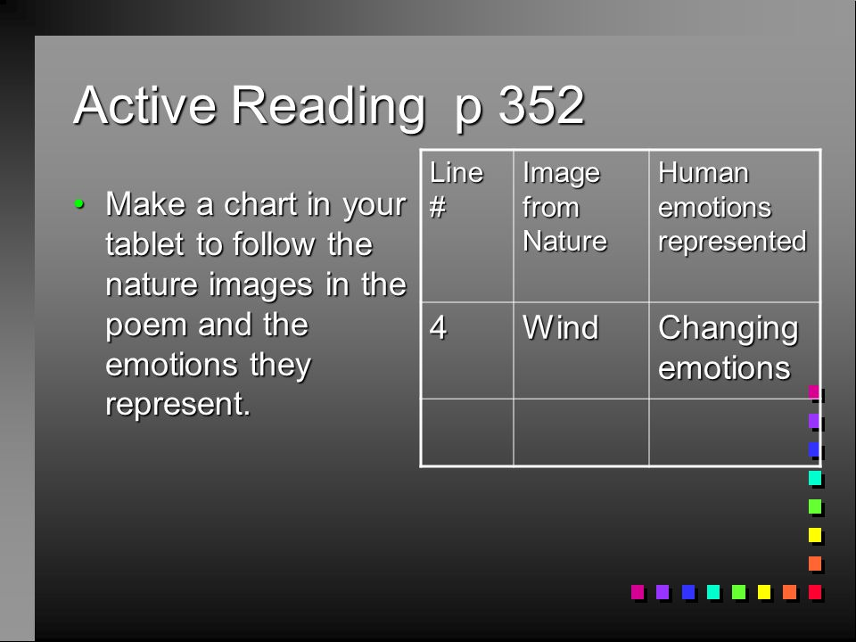 Active Reading p 352 4 Wind Changing emotions