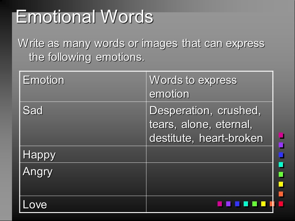Emotional Words Write as many words or images that can express the following emotions. Emotion. Words to express emotion.