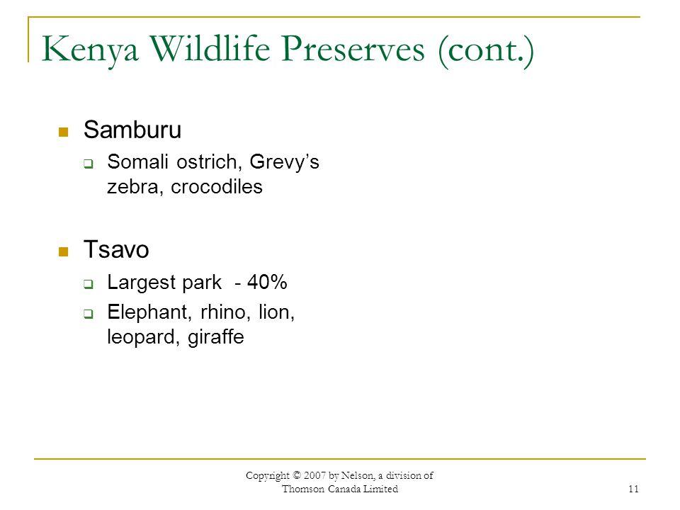Kenya Wildlife Preserves (cont.)