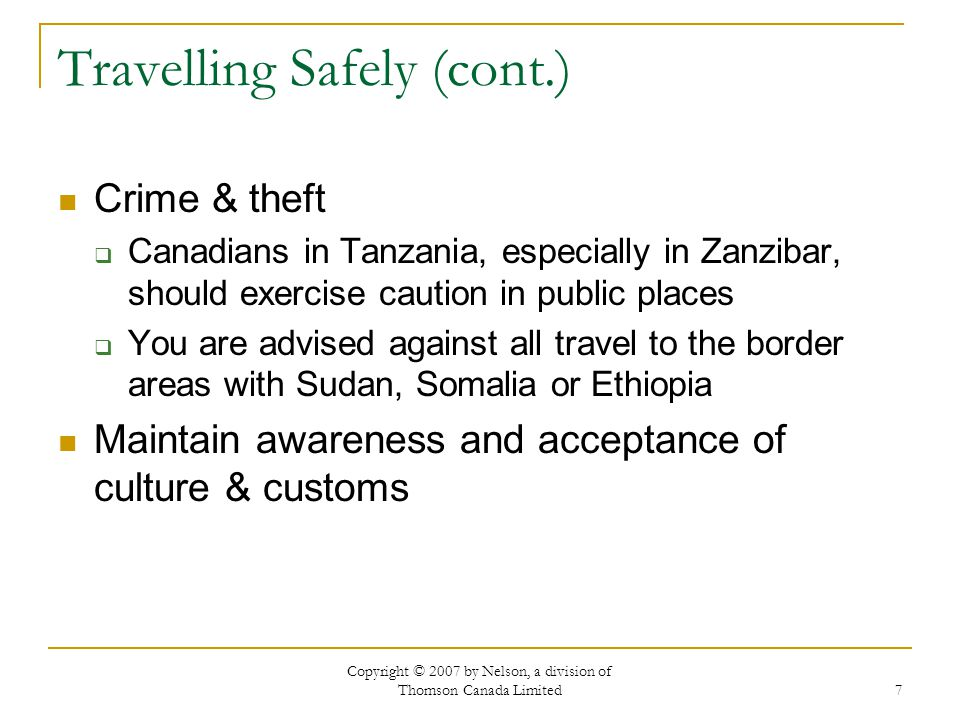 Travelling Safely (cont.)