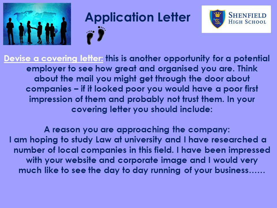 A reason you are approaching the company: