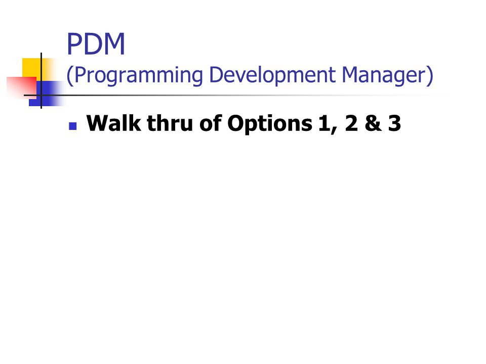 PDM (Programming Development Manager)