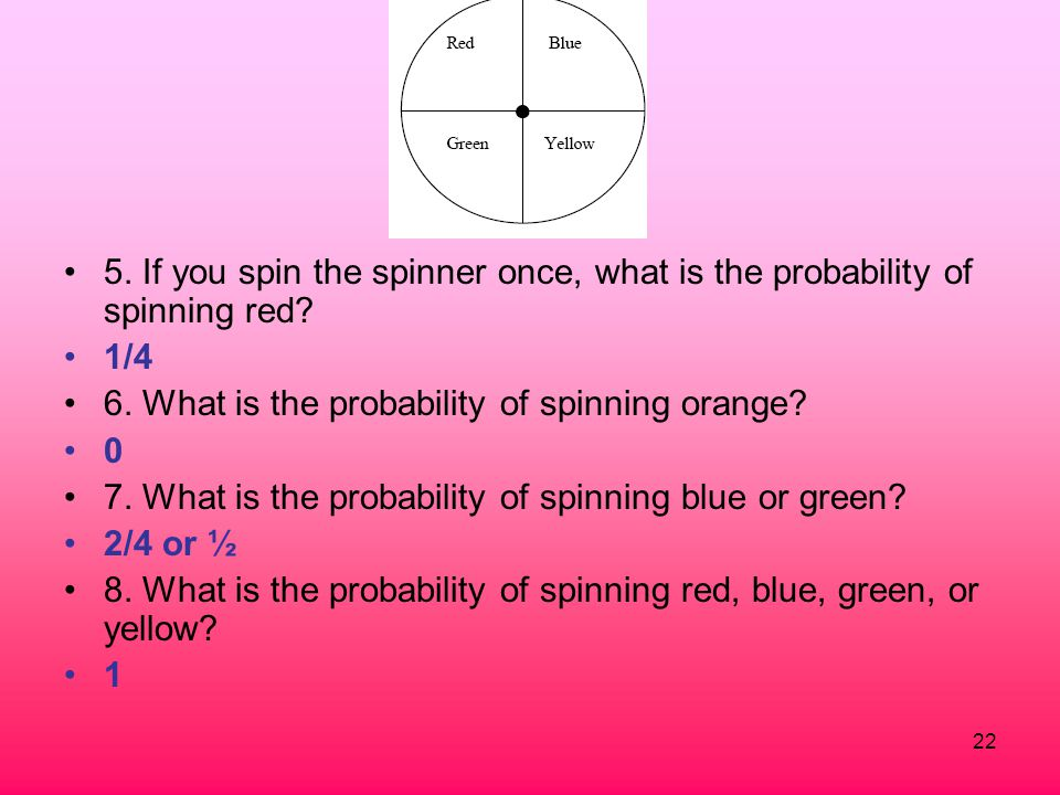 5. If you spin the spinner once, what is the probability of spinning red