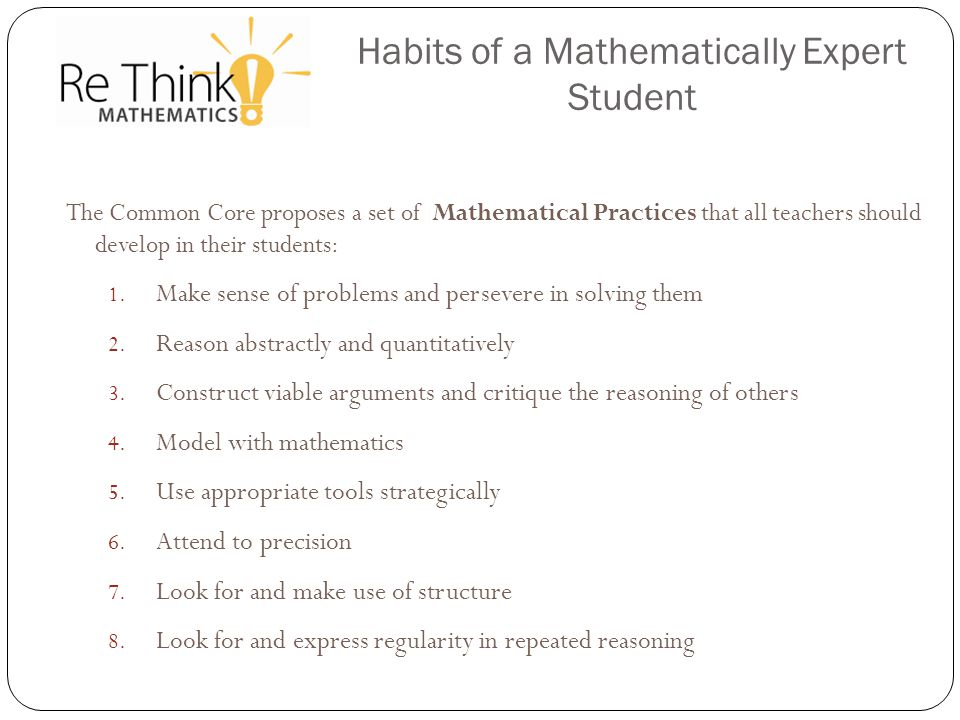 Habits of a Mathematically Expert Student