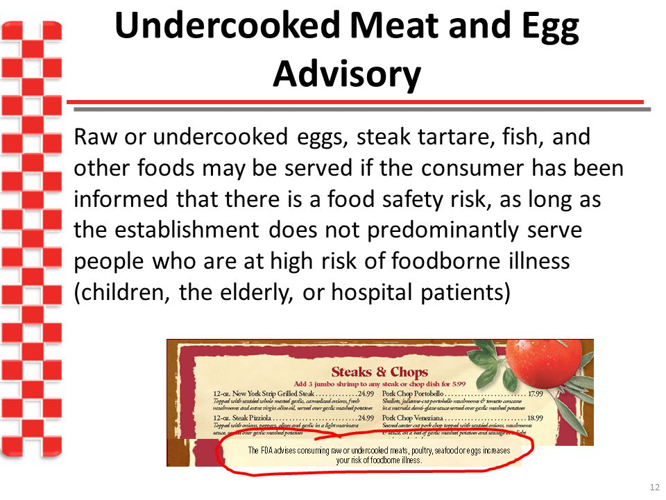 Undercooked Meat and Egg Advisory