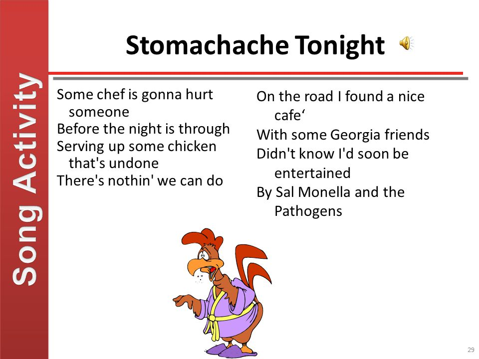 Song Activity Stomachache Tonight Some chef is gonna hurt someone