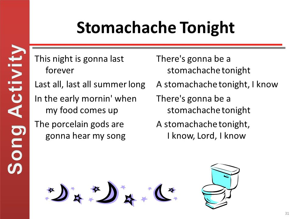 Song Activity Stomachache Tonight This night is gonna last forever