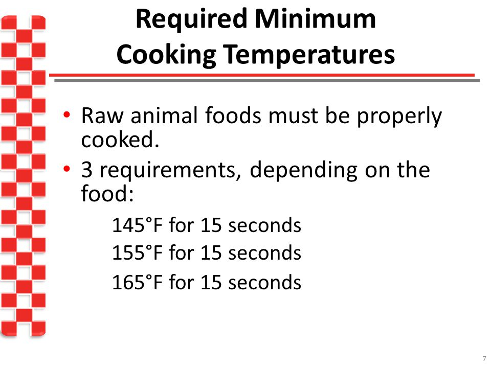 Required Minimum Cooking Temperatures