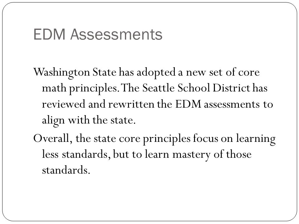 EDM Assessments