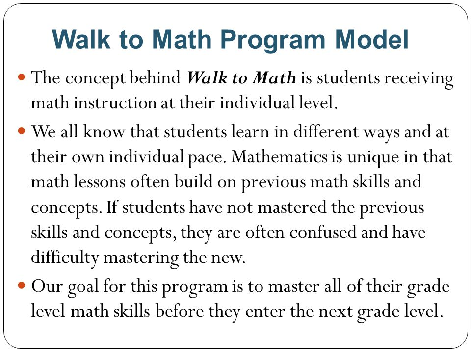 Walk to Math Program Model