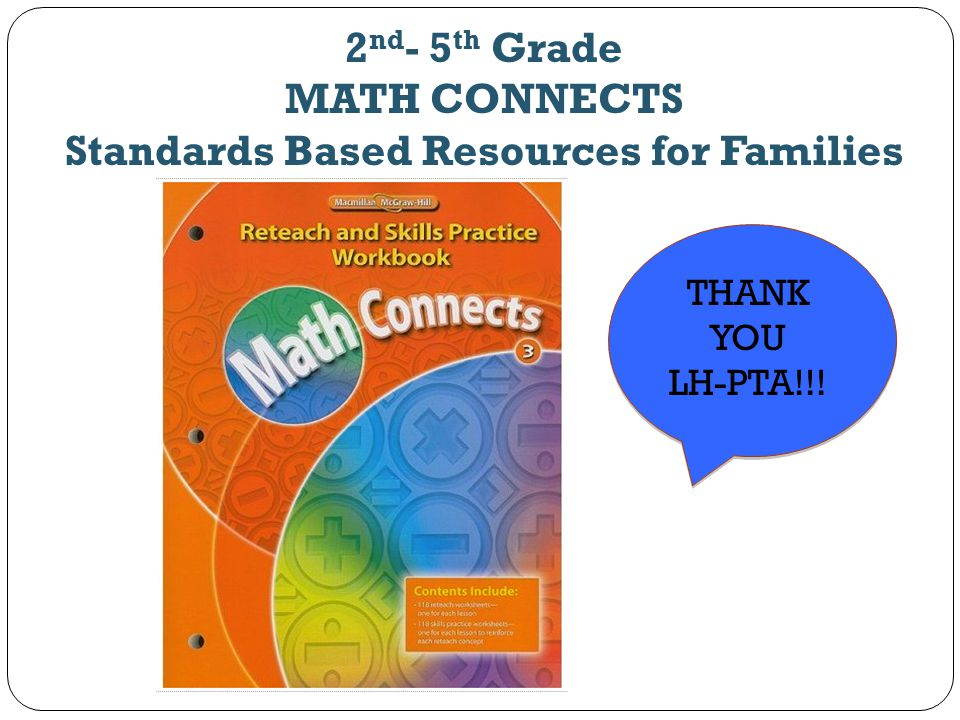2nd- 5th Grade MATH CONNECTS Standards Based Resources for Families