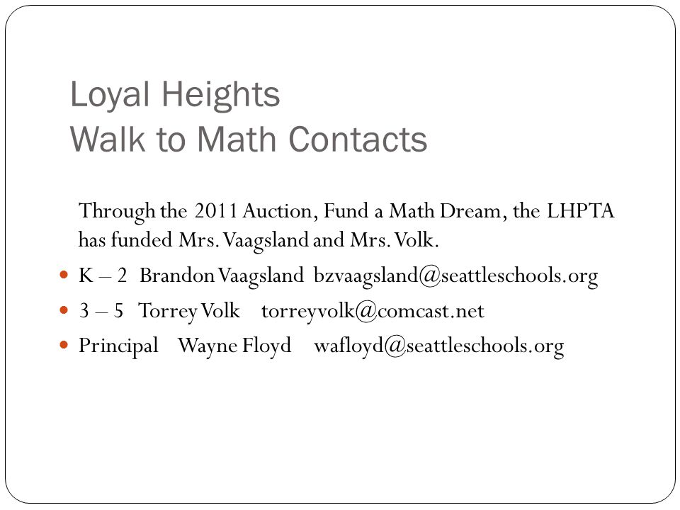 Loyal Heights Walk to Math Contacts