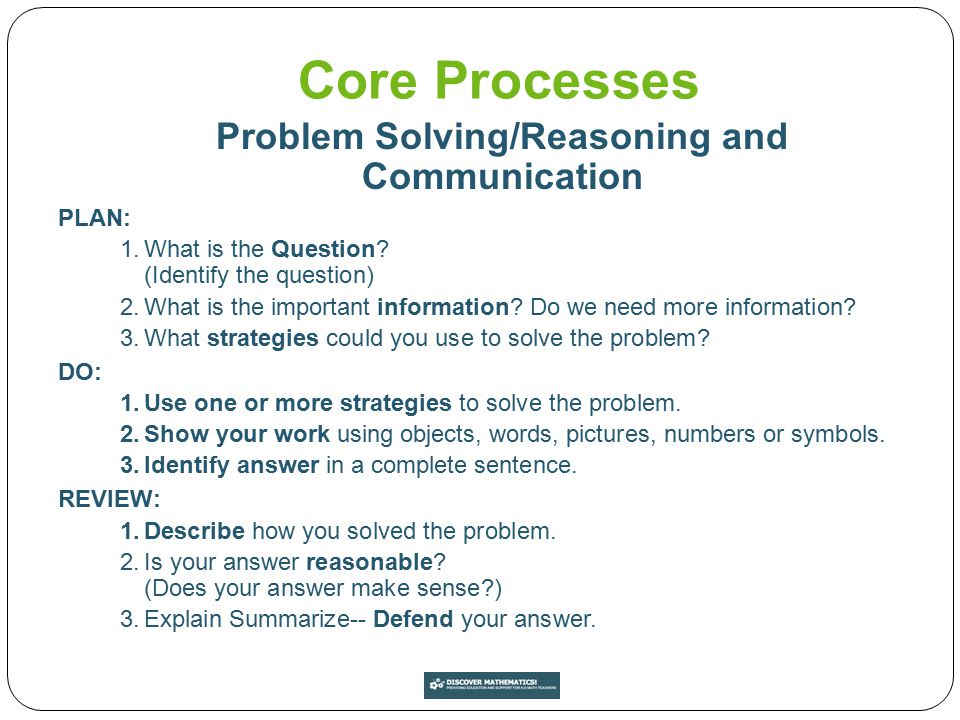 Problem Solving/Reasoning and Communication